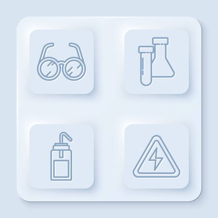 Set line Laboratory glasses, Test tube and flask chemical, Laboratory wash bottle and High voltage sign. White square button. Vector