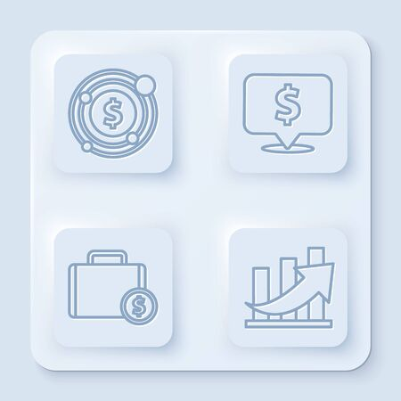 Set line Target with dollar symbol, Speech bubble with dollar, Briefcase and money and Financial growth and coin. White square button. Vector