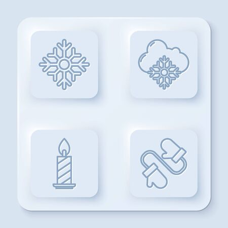 Set line Snowflake, Cloud with snow, Burning candle in candlestick and Pair of knitted christmas mittens. White square button. Vector
