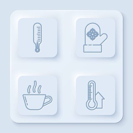 Set line Meteorology thermometer measuring, Christmas mitten, Coffee cup and Meteorology thermometer measuring. White square button. Vector Illustration
