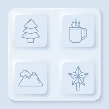 Set line Christmas tree, Coffee cup, Mountains and Christmas star. White square button. Vector