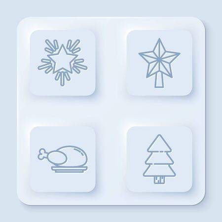 Set line Christmas star, Christmas star, Roasted turkey or chicken and Christmas tree. White square button. Vector
