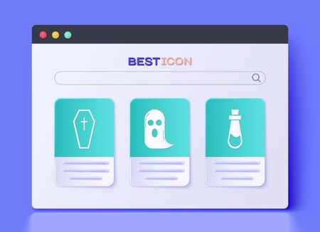 Set Ghost , Coffin with christian cross  and Bottle with potion  icon. Vector