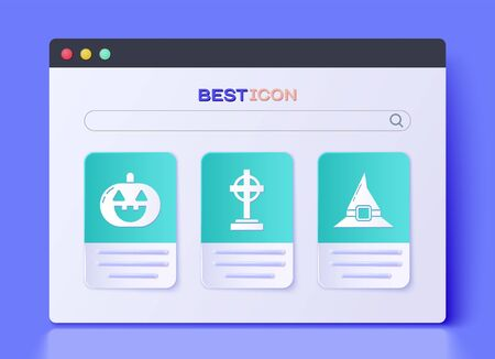 Set Tombstone with cross , Pumpkin  and Witch hat  icon. Vector