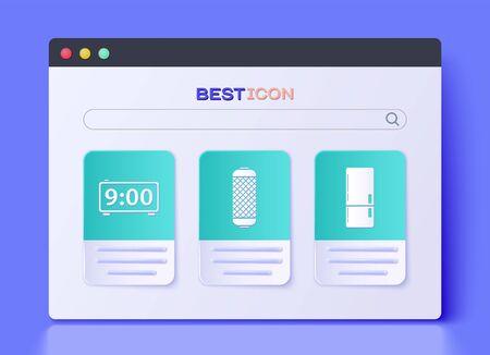 Set Stereo speaker , Digital alarm clock and Refrigerator icon. Vector