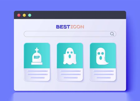 Set Ghost , Tombstone with RIP and Ghost icon. Vector
