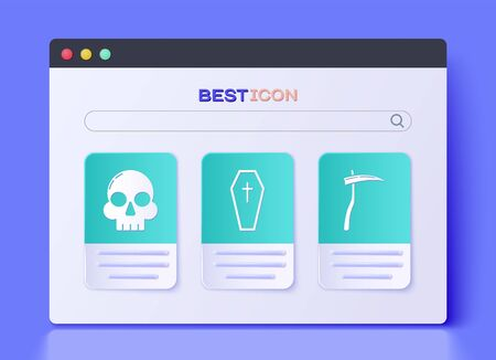 Set Coffin with christian cross , Skull  and Scythe  icon. Vector