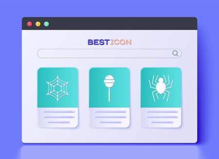 Set Lollipop , Spider web  and Spider  icon. Vector