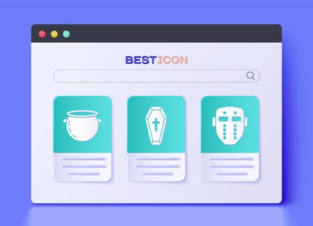 Set Coffin with christian cross , Halloween witch cauldron  and Hockey mask  icon. Vector