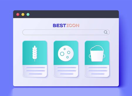 Set Cookie or biscuit with chocolate , Cereals with rice, wheat, corn, oats, rye and Bakery bowl dough icon. Vector Иллюстрация
