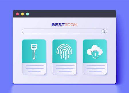 Set Fingerprint , Key and Cloud and shield icon. Vector Illustration