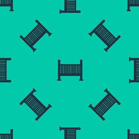 Blue line Baby crib cradle bed icon isolated seamless pattern on green background.  Vector Illustration Illusztráció
