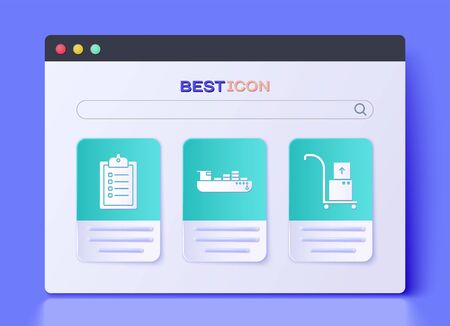 Set Cargo ship with boxes delivery service , Verification of delivery list clipboard and Hand truck and boxes icon. Vector Illustration