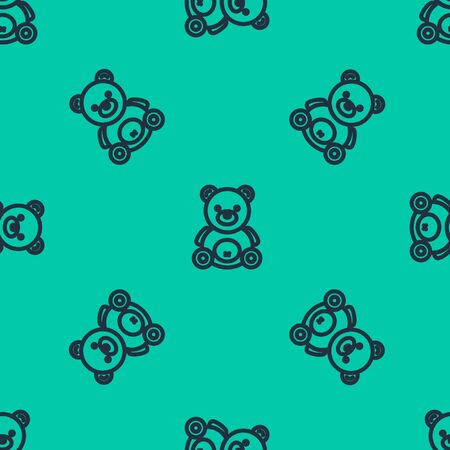 Blue line Teddy bear plush toy icon isolated seamless pattern on green background.  Vector Illustration Illusztráció