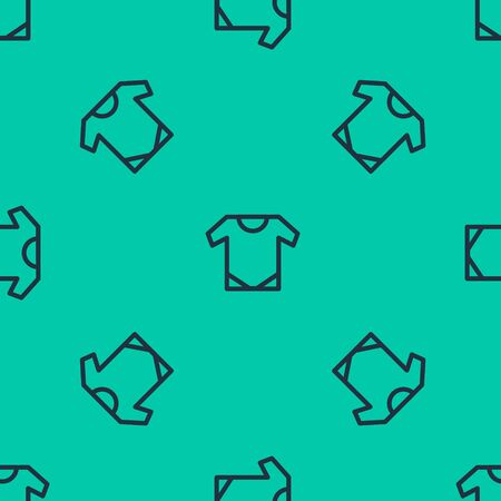 Blue line Baby infant icon isolated seamless pattern on green background. Baby clothes symbol. Kid wear sign.  Vector Illustration Ilustrace