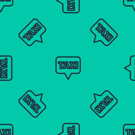 Blue line Map pointer with taxi icon isolated seamless pattern on green background. Location symbol.  Vector Illustration