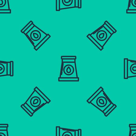 Blue line Oil and gas industrial factory building icon isolated seamless pattern on green background. Vector Illustration