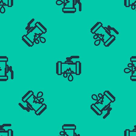 Blue line Broken metal pipe with leaking water icon isolated seamless pattern on green background. Vector Illustration Vettoriali