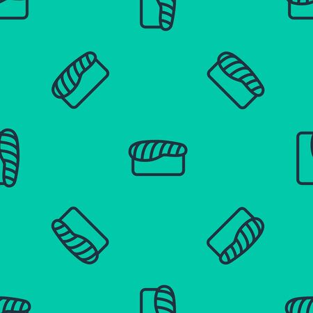 Blue line Sushi icon isolated seamless pattern on green background. Traditional Japanese food. Vector Illustration