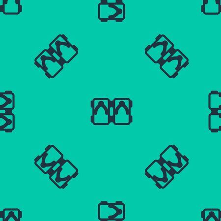 Blue line Geta traditional Japanese shoes icon isolated seamless pattern on green background. Vector Illustration