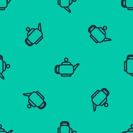 Blue line Traditional Japanese tea ceremony icon isolated seamless pattern on green background. Teapot with cup. Vector Illustration