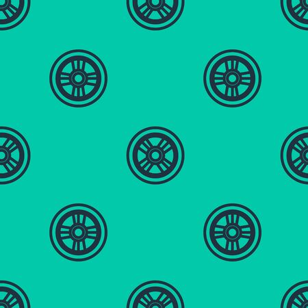 Blue line Car wheel icon isolated seamless pattern on green background. Vector Illustration