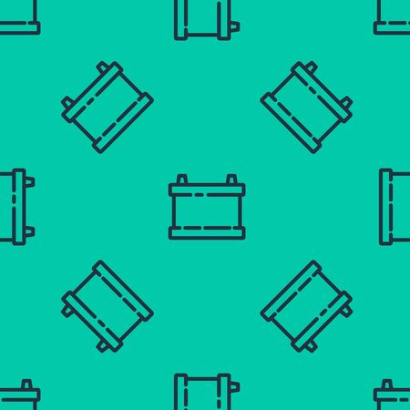 Blue line Car battery icon isolated seamless pattern on green background. Accumulator battery energy power and electricity accumulator battery. Vector Illustration Çizim