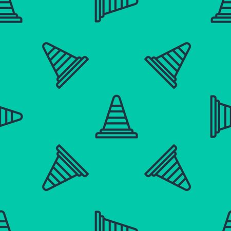 Blue line Traffic cone icon isolated seamless pattern on green background. Vector Illustration Stock Illustratie