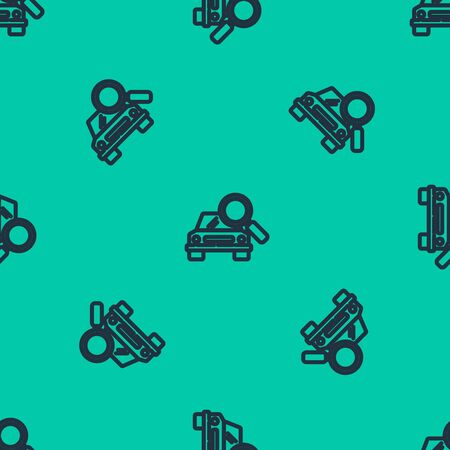 Blue line Car search icon isolated seamless pattern on green background. Magnifying glass with car. Vector Illustration