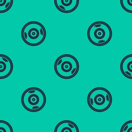 Blue line Vinyl disk icon isolated seamless pattern on green background. Vector Illustration