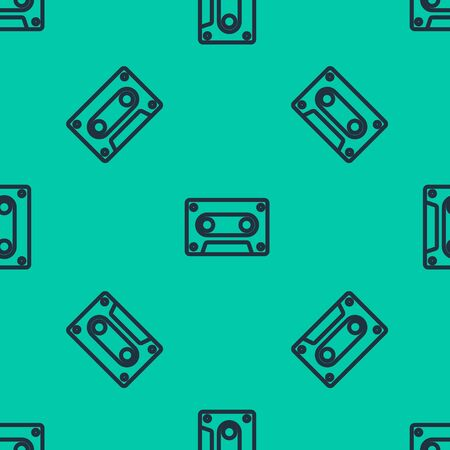 Blue line Retro audio cassette tape icon isolated seamless pattern on green background. Vector Illustration