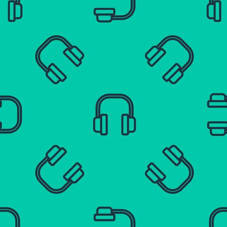 Blue line Headphones icon isolated seamless pattern on green background. Earphones. Concept for listening to music, service, communication and operator. Vector Illustration Иллюстрация