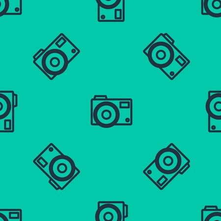 Blue line Photo camera icon isolated seamless pattern on green background. Foto camera icon. Vector Illustration