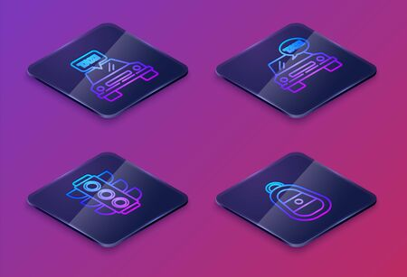 Set Isometric line Taxi car, Traffic light, Taxi car and Car key with remote. Blue square button. Vector Standard-Bild - 140221259