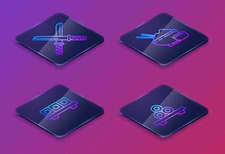 Set Isometric line Traditional Japanese katana, Sushi on cutting board, Rice in a bowl with chopstick and Sushi on cutting board. Blue square button. Vector