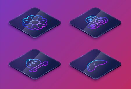 Set Isometric line Flower, Dumpling on cutting board, Sushi and Chinese fortune cookie. Blue square button. Vector Foto de archivo - 140214590