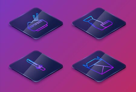 Set Isometric line Rice in a bowl with chopstick, Japanese katana, Traditional Japanese tea ceremony and Rstaurant opened take out box filled. Blue square button. Vector