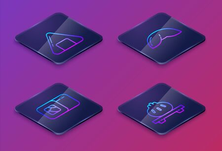Set Isometric line Sushi, Sushi, Chinese fortune cookie and Dumpling on cutting board. Blue square button. Vector