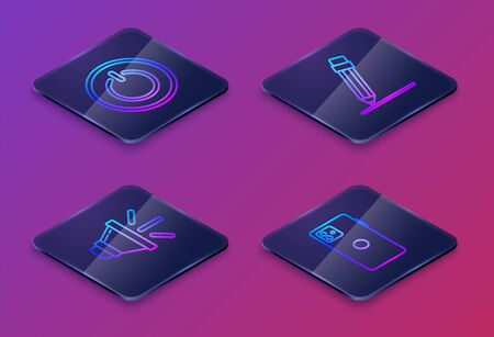 Set Isometric line Power button, Speaker volume, Pencil with eraser and Smartphone, mobile phone. Blue square button. Vector