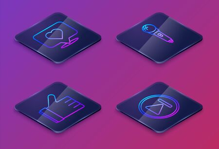 Set Isometric line Like and heart, Hand like, Microphone and Fast forward. Blue square button. Vector