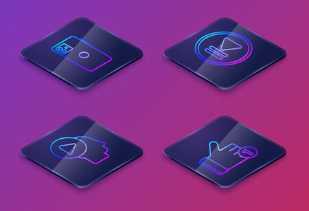 Set Isometric line Smartphone, mobile phone, Head people with play button, Rewind and Hand like. Blue square button. Vector Vettoriali