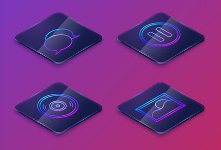 Set Isometric line Speech bubble chat, Vinyl disk, Pause button and Picture landscape. Blue square button. Vector