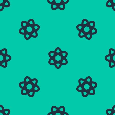 Blue line Atom icon isolated seamless pattern on green background. Symbol of science, education, nuclear physics, scientific research. Vector Illustration