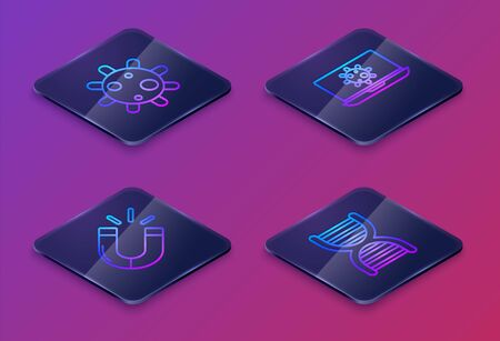 Set Isometric line Bacteria, Magnet, Bacteria on laptop and DNA symbol. Blue square button. Vector