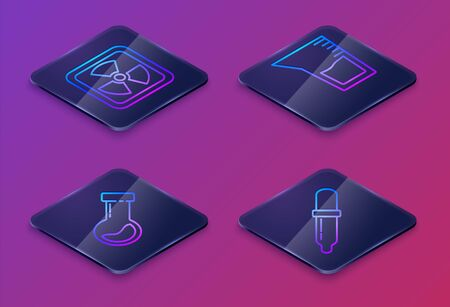 Set Isometric line Radioactive, Test tube and flask chemical, Laboratory glassware or beaker and Pipette. Blue square button. Vector