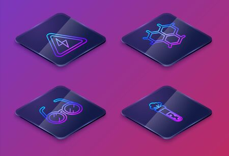 Set Isometric line High voltage sign, Laboratory glasses, Chemical formula and Test tube and flask chemical. Blue square button. Vector