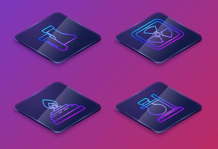 Set Isometric line Test tube and flask chemical, Alcohol or spirit burner, Radioactive and Test tube flask on stand. Blue square button. Vector