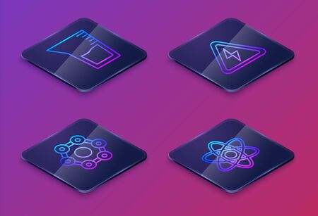 Set Isometric line Laboratory glassware or beaker, Chemical formula, High voltage sign and Atom. Blue square button. Vector Çizim