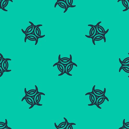 Blue line Biohazard symbol icon isolated seamless pattern on green background. Vector Illustration