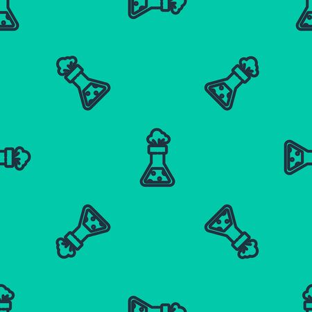 Blue line Test tube and flask chemical laboratory test icon isolated seamless pattern on green background. Laboratory glassware sign. Vector Illustration